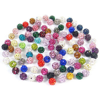 20Pcs Czech Crystal Rhinestones Pave Clay Round Ball Spacer Beads 6 8 10 12mm