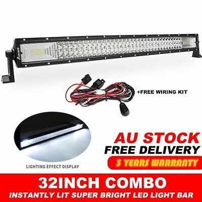 32Inch Tri-Row LED Light Bar Spot Flood Driving For Ford Offroad Lamp + Wire