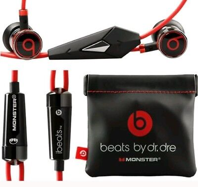 New Genuine Monster Beats, Beats by Dr. Dre iBeats Headphones  Black With Pouch