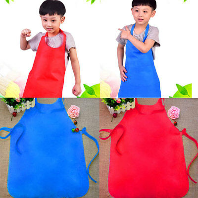 For Children Kids Apron Pocket Adjustable Plain Chefs Kitchen Cook Crafts Art
