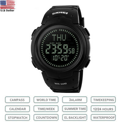 SKMEI Men's Compass LED Backlight Digital Wrist Watches Outdoor Military Watch