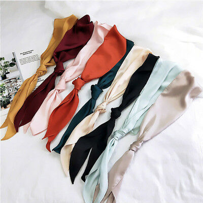 1× Women Ladies Scarf Hijab Head Neck Silk Feel Skinny Satin Hair Tie Band Solid
