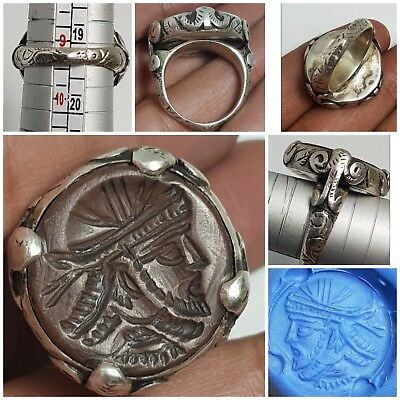 Very rare persian old wonderfull  agate intaglio seal pure silver ring