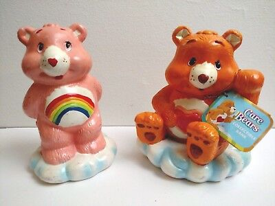 Care Bears 2004 Ceramic Coin Bank Lot of 2 Tenderheart and Cheer Bear TCFC
