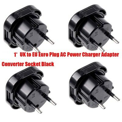 1PC Travel UK to EU Euro Plug AC Power Charger Adapter Converter Socket Black