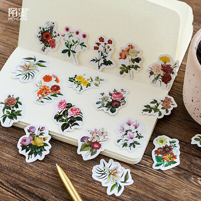 46 PCs/Set Girl DIY Vintage Romantic Diary Decal Flakes Flower Stickers Label
