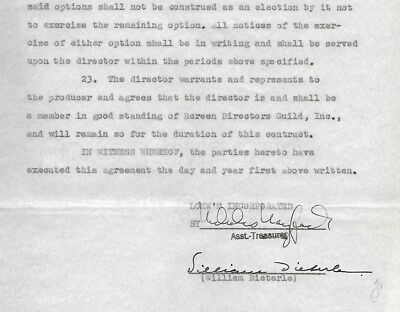 WILLIAM DIETERLE  vintage signed contract 1942    Movie DIRECTOR      RARE