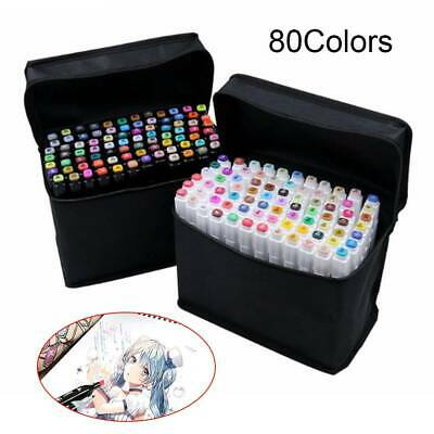 80 Colors Touch Oily Alcohol Twin Tips Art Markers Pens Fine Broad Copic Pen UK