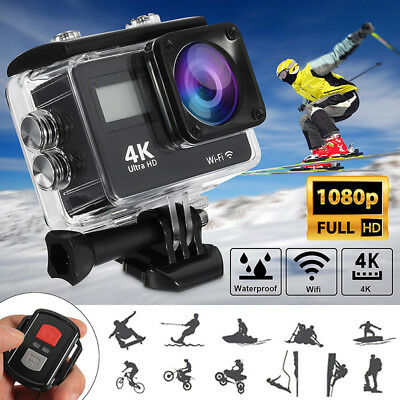 4K 1080P HD 2'' Dual Screen Sport Action Camera DV WiFi Waterproof As Go Pro QR