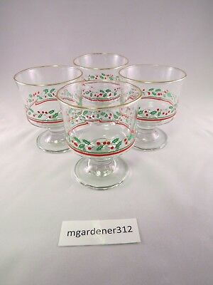 "Vintage 4 Arbys Libbey Christmas Holly Berry 4"" Sherbert Glasses Optic Swirl"
