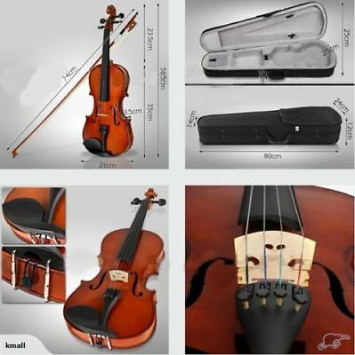 NEW VIOLIN ~FULL SIZE 4/4~W/ CASE & BOW Brown