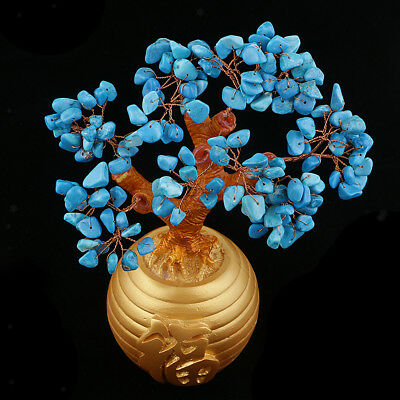 Blue Feng Shui Crystal Money Tree Office Home Decor Bring Luck / Wealth