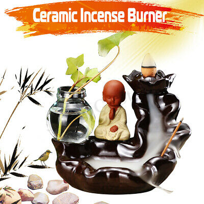 Ceramic Backflow Cone Holder Incense Burner Monk Smoke Buddha Scents + Glass Pot