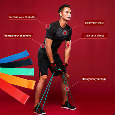 Resistance Bands Loop Set Exercise Sports Fitness Home Gym Yoga Natural Latex