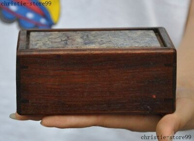 """5""""Chinese Huanghuali wood Inlay shell Carving dynasty organ jewelry storage box"""