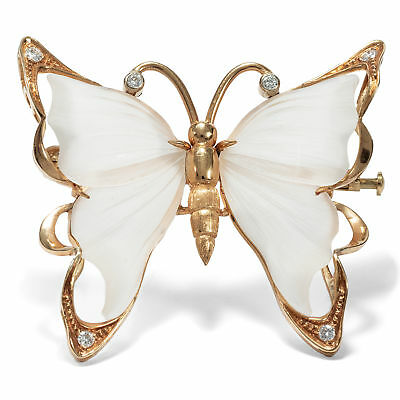 Schmetterling! 750 Gold BROSCHE Bergkristall & Brillanten Diamanten / butterfly