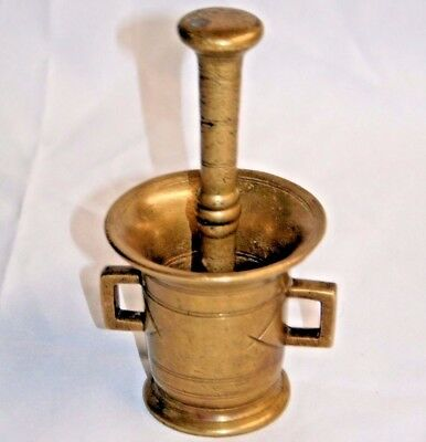 Vtg 1940's Solid Brass Mortar and Pestal Apothecary Heavy
