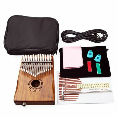 17 Keys Eq Kalimba Mbira Calimba Solid Acacia Thumb Piano Link Speaker Electric