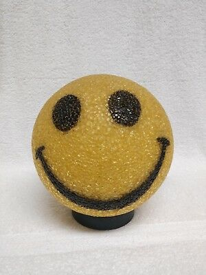 Vintage Yellow Smiley Face Lamp Melted Plastic Emoji Electric Popcorn Light