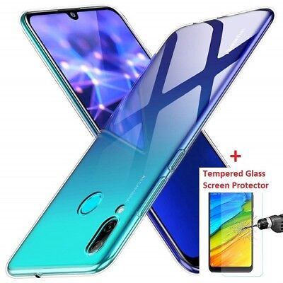 New Slim Clear Gel Case Cover And Glass Screen Protector For Huawei P Smart 2019
