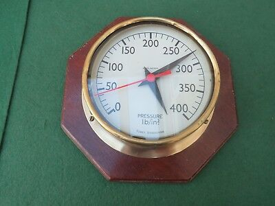 Tomey Birmingham Brass Pressure Gauge Turned Into A Clock With Wooden Backing