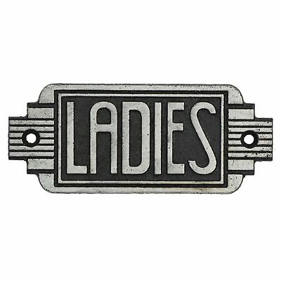 Ladies Toilet Door Sign Art Deco  Cast Iron Antique Silver Finish Vintage Style