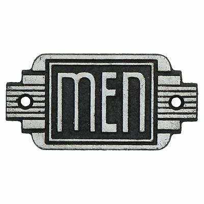 Men Toilet Door Sign Art Deco  Cast Iron Antique Silver Finish Vintage Style