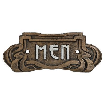 Men Toilet Door Sign Art Nouveau Cast Iron Antique Bronze Finish Vintage Style