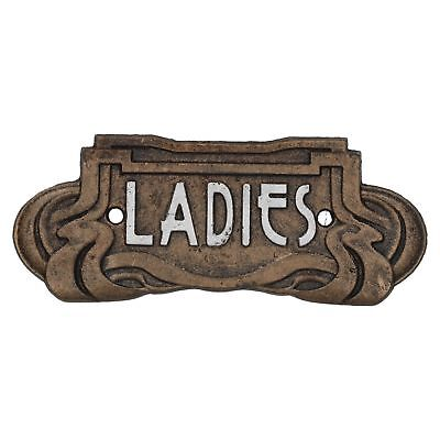 Ladies Toilet Door Sign Art Nouveau Antique Bronze Finish Vintage Style