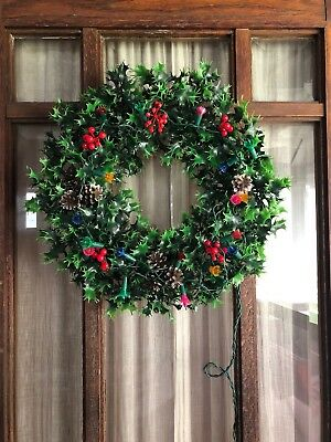 Vintage 18 Inch Plastic Christmas Wreath With Holly& Pine cones - Light Up Retro