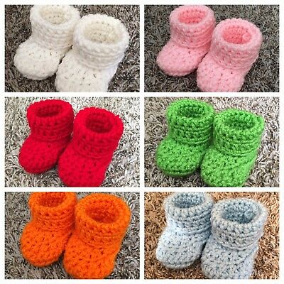 17 Color Baby Booties Crochet Handmade Size 0-3 Months