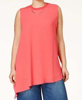 38bb00b9771 Rachel Rachel Roy Curvy Plus Size Asymmetrical Sleeveless Top Womens 3X  Coral