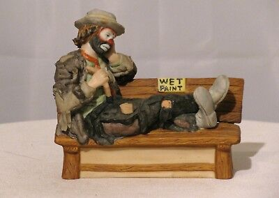 Emmett Kelly, Jr. On Bench With Wet Paint Sign Flambro