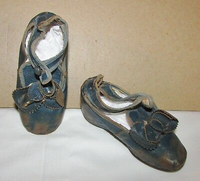 1860's-70's Victorian Blue Leather Shoes  W/button Strap, Makers Stamp