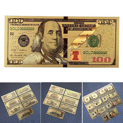 7 PCs/Set Collectibles Dollars Ancient Antique Gold Plated Bill World Collection