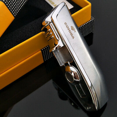 COHIBA Metal 3 Torch Jet Flame Cigarette Lighter with Punch Silver Color Lighter