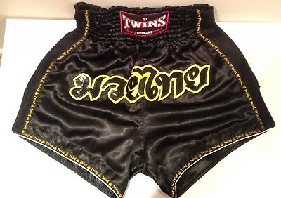TWINS Special Retro Black Muay Thai MMA Combat Shorts Never Worn New Without Tag