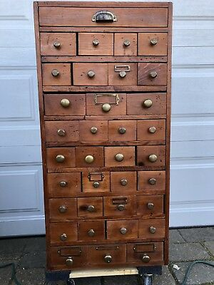"""Vintage Apothecary Cabinet 35 Drawers 38"""" Tall"""