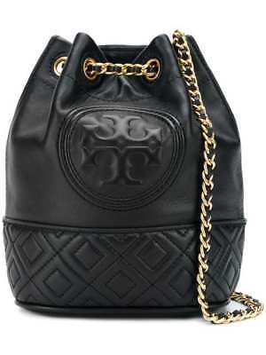 Authentic New Tory Burch Fleming Mini Bucket Bag Black Lamb Leather NWT  348 767426afb9ad9