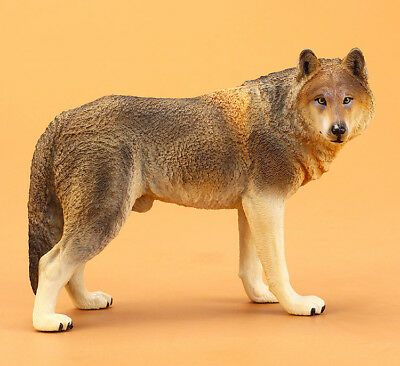Wolf Brown Painted PVC Figurine Statue Simulation Miniature Animal 1:6 Model Toy