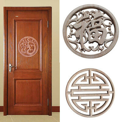 Pop Woodcarving Decal Chinese Style Round Furniture Applique Wooden Mural 1PC