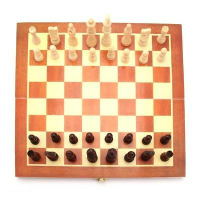 Vintage Wood Pieces Chess Set Folding Board Box Wood Hand Carved Gift Kid Toy FT