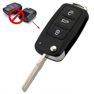 3 Button Folding Flip Key Remote Shell Case Uncut Blade For VW Golf Jetta Polo
