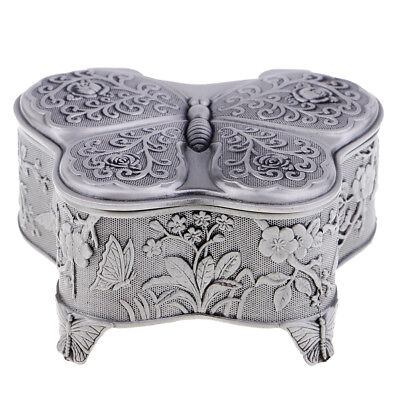 Antique Silver Butterlfy Shaped Music Boxes Wind-up Music Box Wedding Gifts