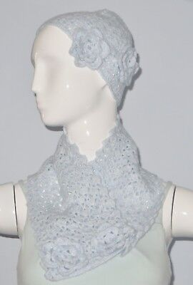 New Handmade Crochet White Blue Soft Acrylic Lace Neck Warmer Scarf and Hat Set