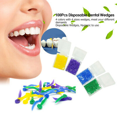 100PCS Dental Plastic Poly-Wedges with Holes Round Stern 4 Colors 4 Sizes K1O1
