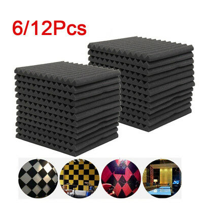 UK 12PCS Acoustic Panels Tiles Studio Sound Proofing Insulation Closed Cell Foam