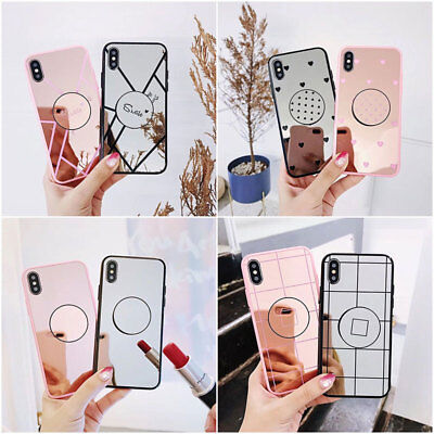 Luxury Mirror Phone Cover Shell For iPhone X 8 7 6 Plus Case With POP Up Holder