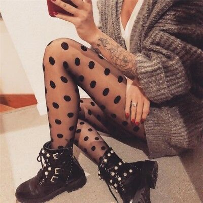 Women's Black Sexy Retro Sheer Lace Hosiery Big Dot Pantyhose Stockings Tights