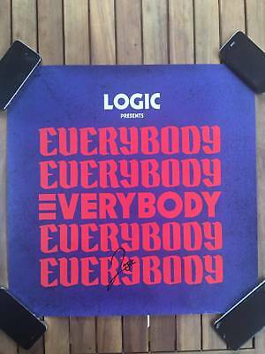 """Logic Autograph, Signed BLUE EVERYBODY Poster (18"""" x 18"""")"""